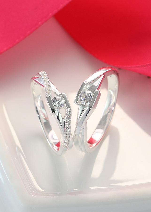 Nhẫn đôi bạc, nhẫn cặp bạc đính đá tinh tế ND0396