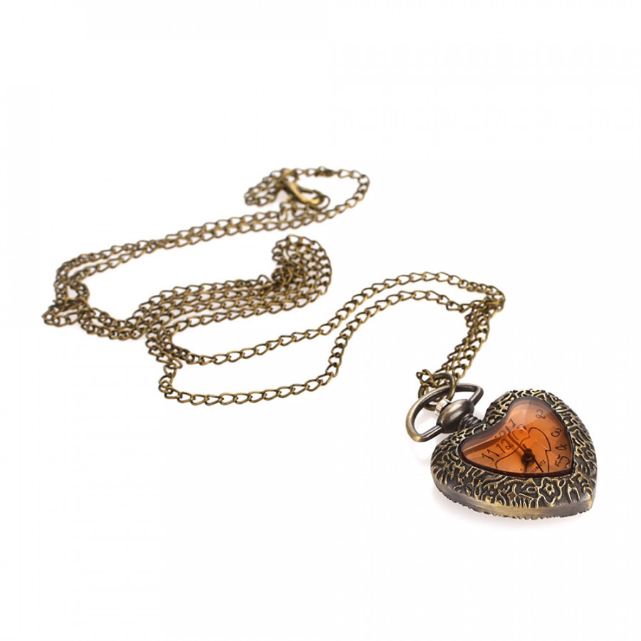 Fob Pocket Watch Pocket Watch Fashion Heart Shape Antique Sweater Chain Pendant Necklace