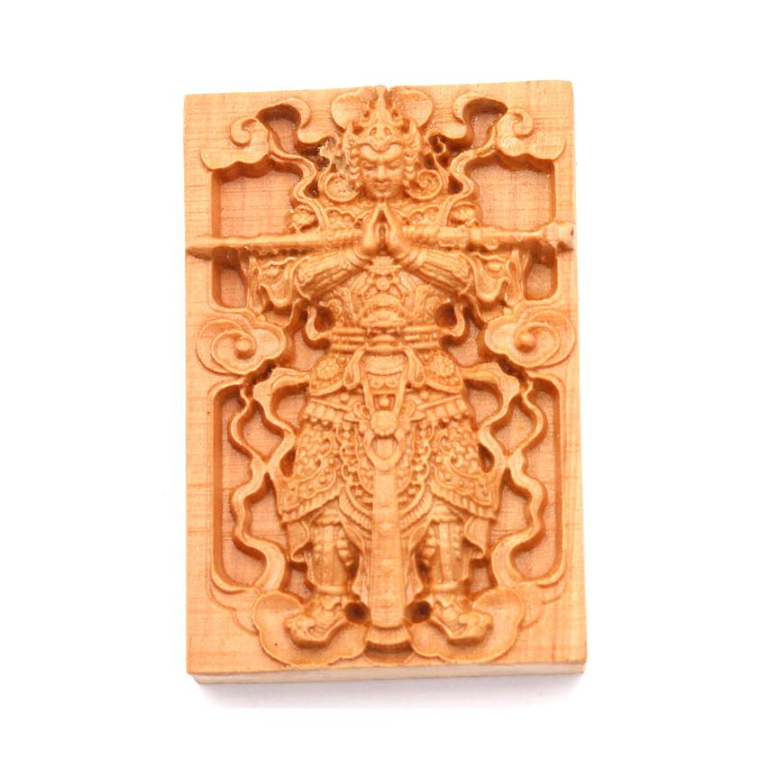 Mặt gỗ hoàng đàn - khắc hình Nhị lang thần MG38