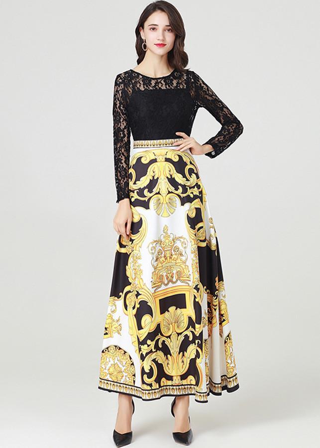 Đầm xòe phong cách châu âu kiểu đầm xòe liền in họa tiết GOTI1715