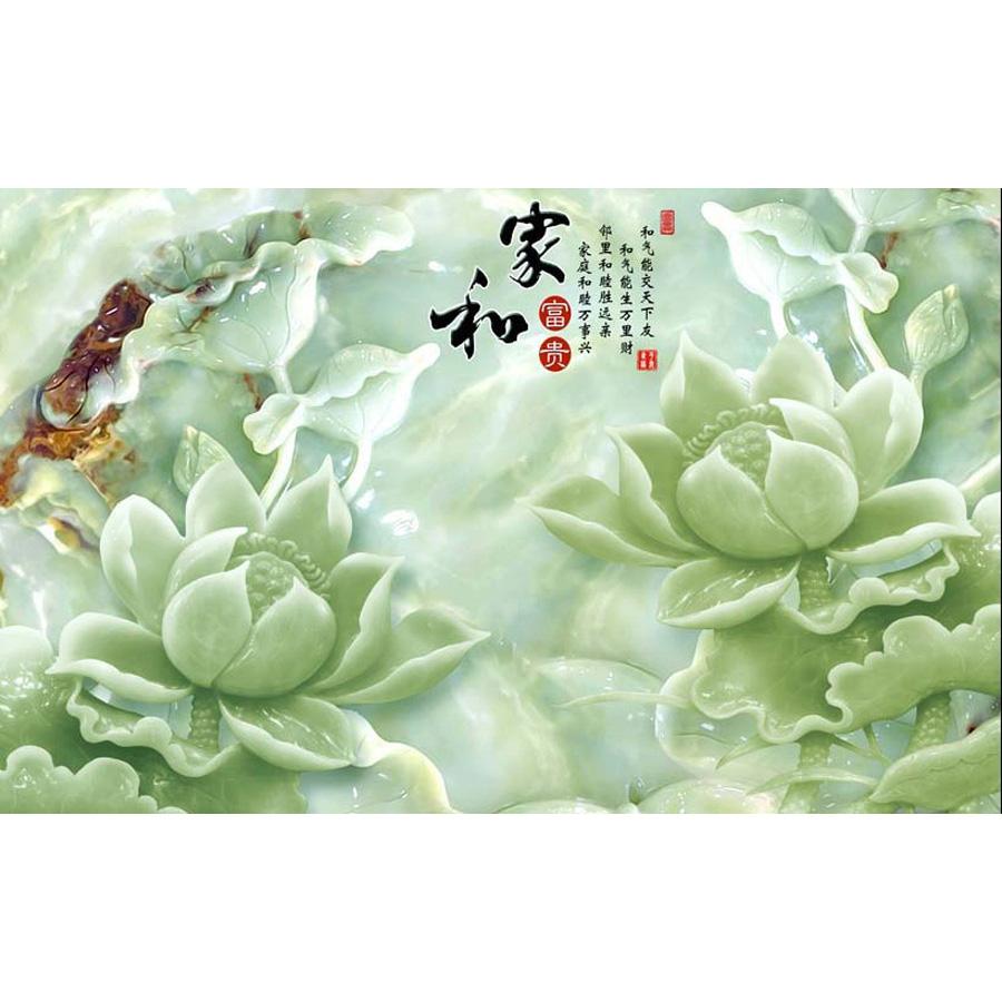 Tranh dán tường 3d | Tranh dán tường phong thủy hoa sen cá chép 3d 331