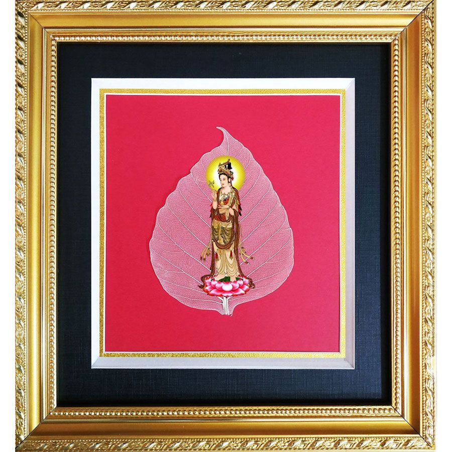 Tranh Hình Phật Quan Âm Trên Lá Bồ Đề HPB-2454-2