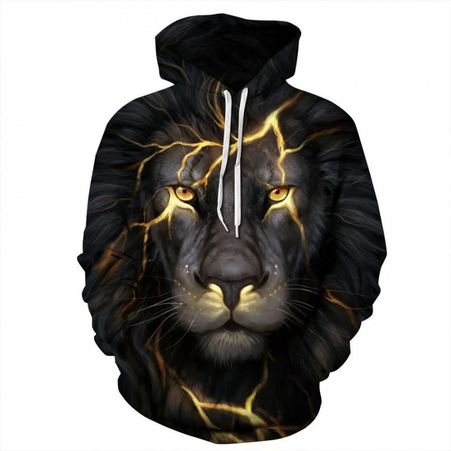 Hoodies Sweats Cool Lion 3D Sport Women