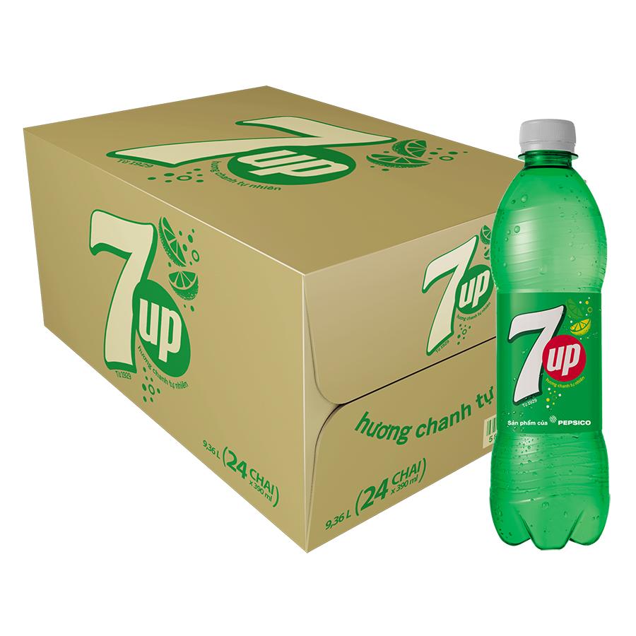 Thùng 24 Chai Nước Ngọt Có Gas 7Up (390ml / Chai)