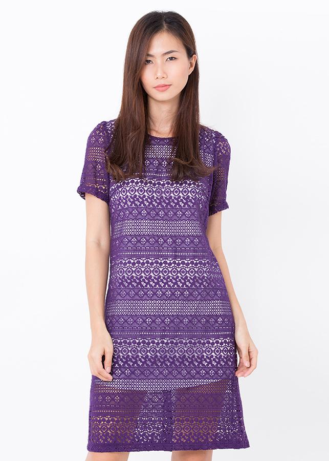 Đầm Suông Ren Bigsize - Tím - Citino