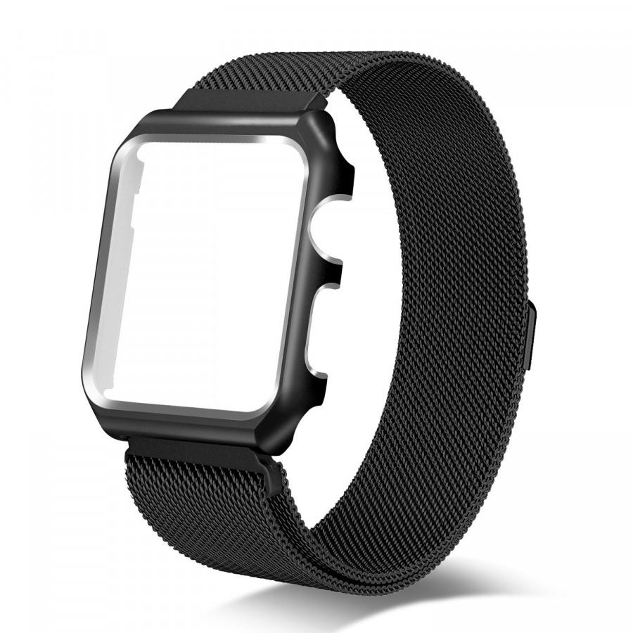 Dây đồng hồ cho Apple Watch, Dây Mloop lưới thép kèm ốp cho Apple Watch