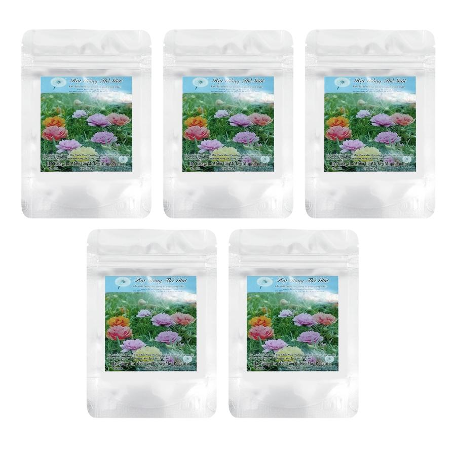 Bộ 5 túi Giống Hoa Mười Giờ Mỹ Kép - Mix Nhiều Màu (Portulaca) (200 Hạt / túi)