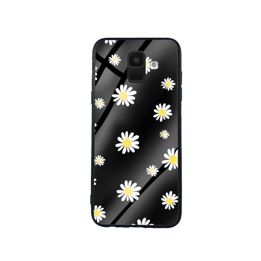 Ốp Lưng Kính Cường Lực cho điện thoại Samsung Galaxy A6 - Cúc Họa Mi 01 - Hàng Chính Hãng