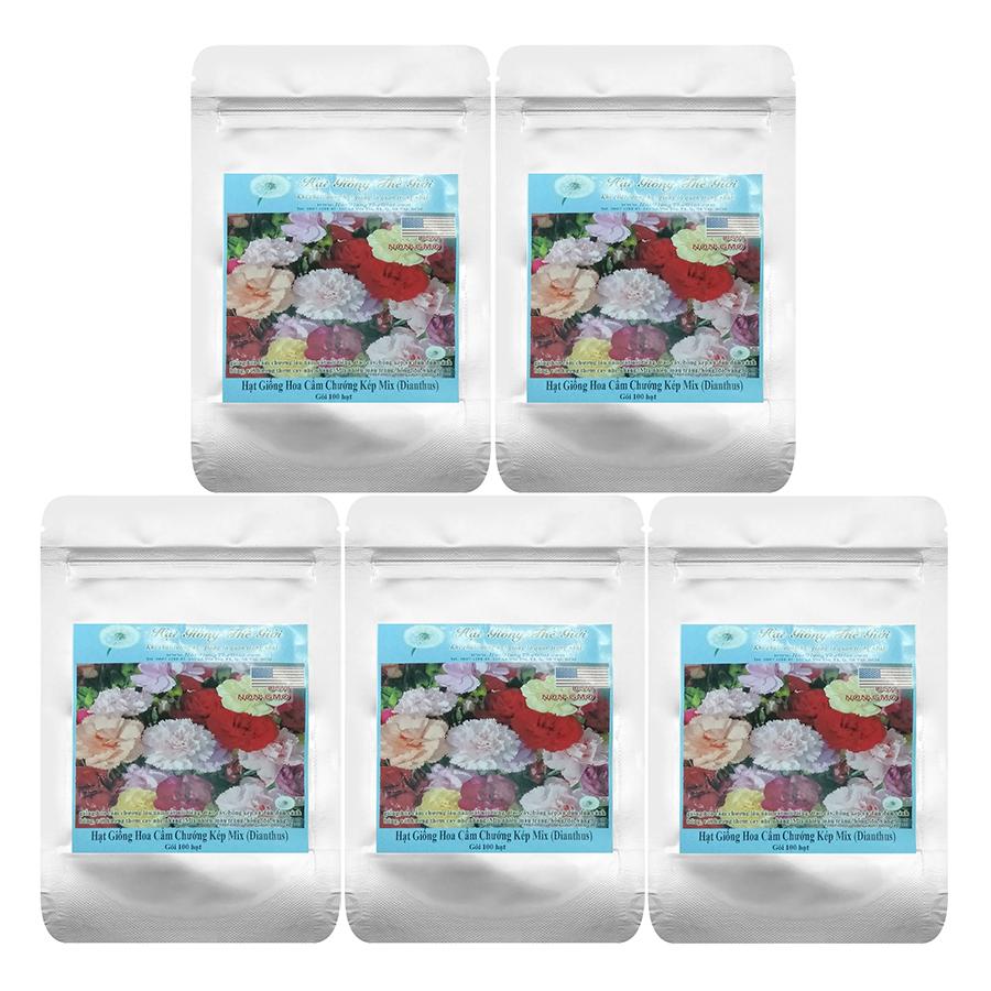 Bộ 5 Túi 100H Hạt Giống Hoa Cẩm Chướng Kép - Mix (Dianthus Caryophyllus)