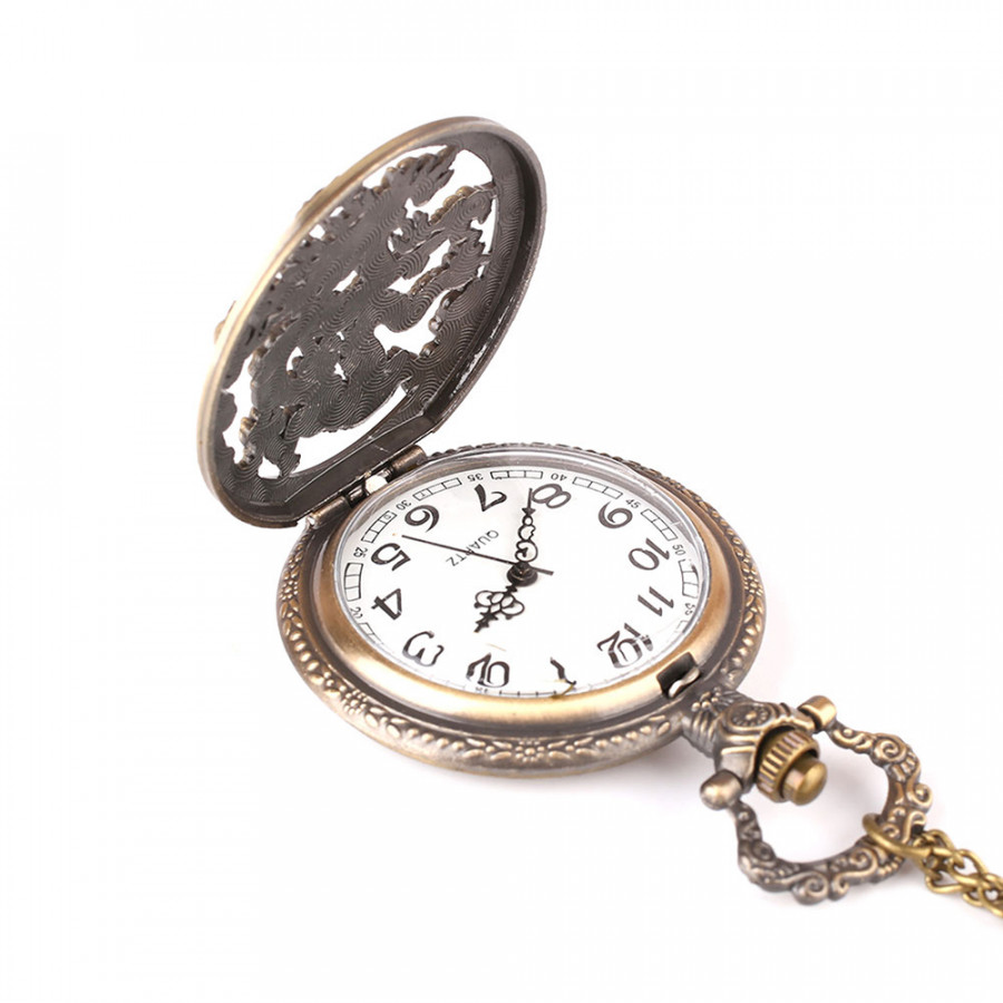 Pocket Watch Fob Pocket Watch Vintage Dragon Copper Bronze Sweater Chain