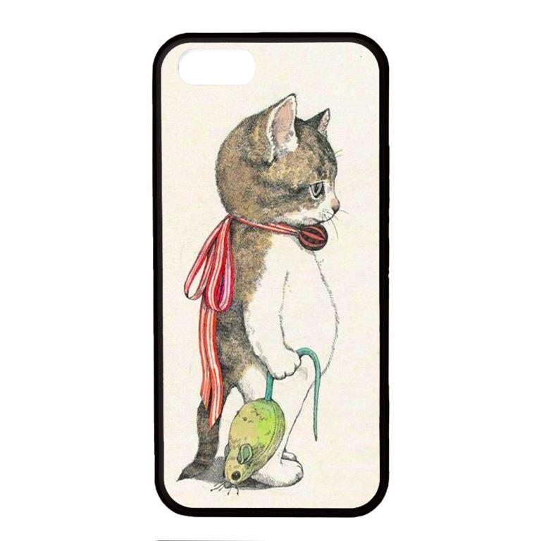 Ốp lưng dành cho Iphone 5 Chuột Mèo Nền TRắng - Hàng Chính Hãng