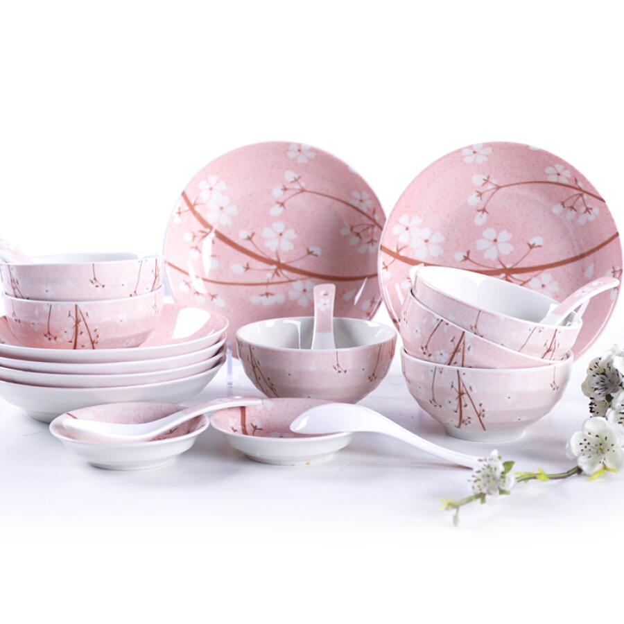 Mud fire ware ceramic cherry 20 heads glaze under the bowl dish Japanese style microwave oven
