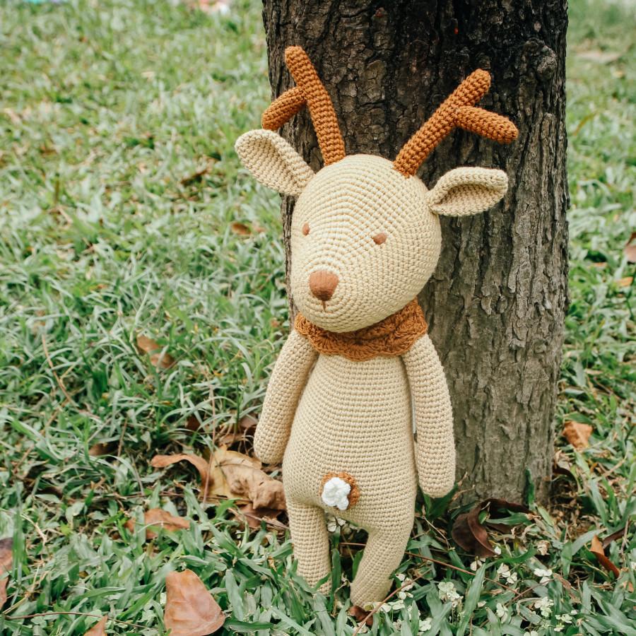 Quà tặng cho bé - Tuần lộc khăn nâu - Toys made by The Bunny