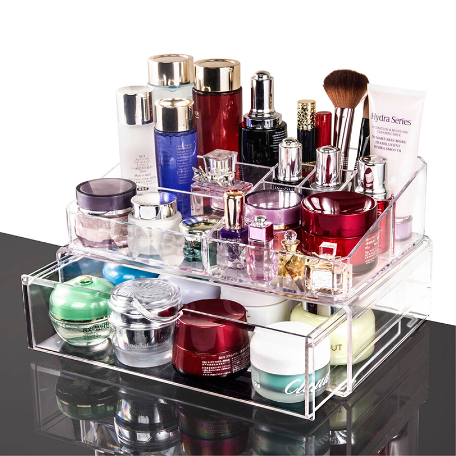 Vilscijon Victorian transparent acrylic rotating cosmetic case storage box large desktop cosmetic lipstick finishing box jewelry storage box...
