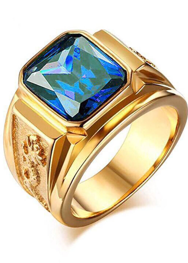 Nhẫn nam mạ vàng 24k rồng vàng mặt xanh N3