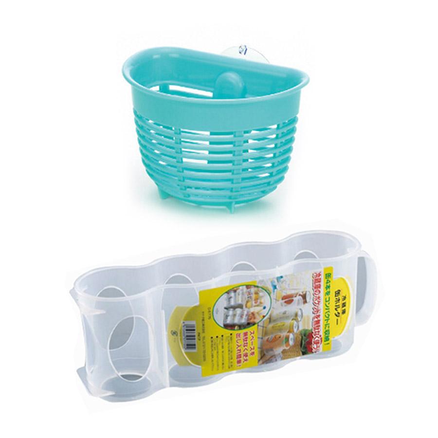 Combo Giá Để Giẻ Rửa Bát Dáng Nông + Giá Đựng Chai Lọ Nhà Bếp Cất Gọn - Nội Địa Nhật Bản