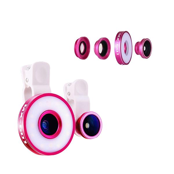 Ống Kính Góc Rộng Kèm Đèn LED 6 Trong 1 Ceomate CME-MX601 - Pink