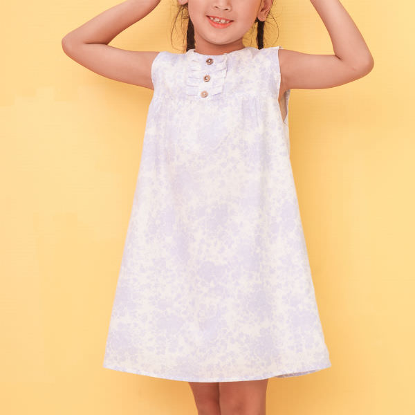 Đầm Suông Bé Gái Họa Tiết Hoa Cổ Trụ Nút Ugether UKID204 - Trắng