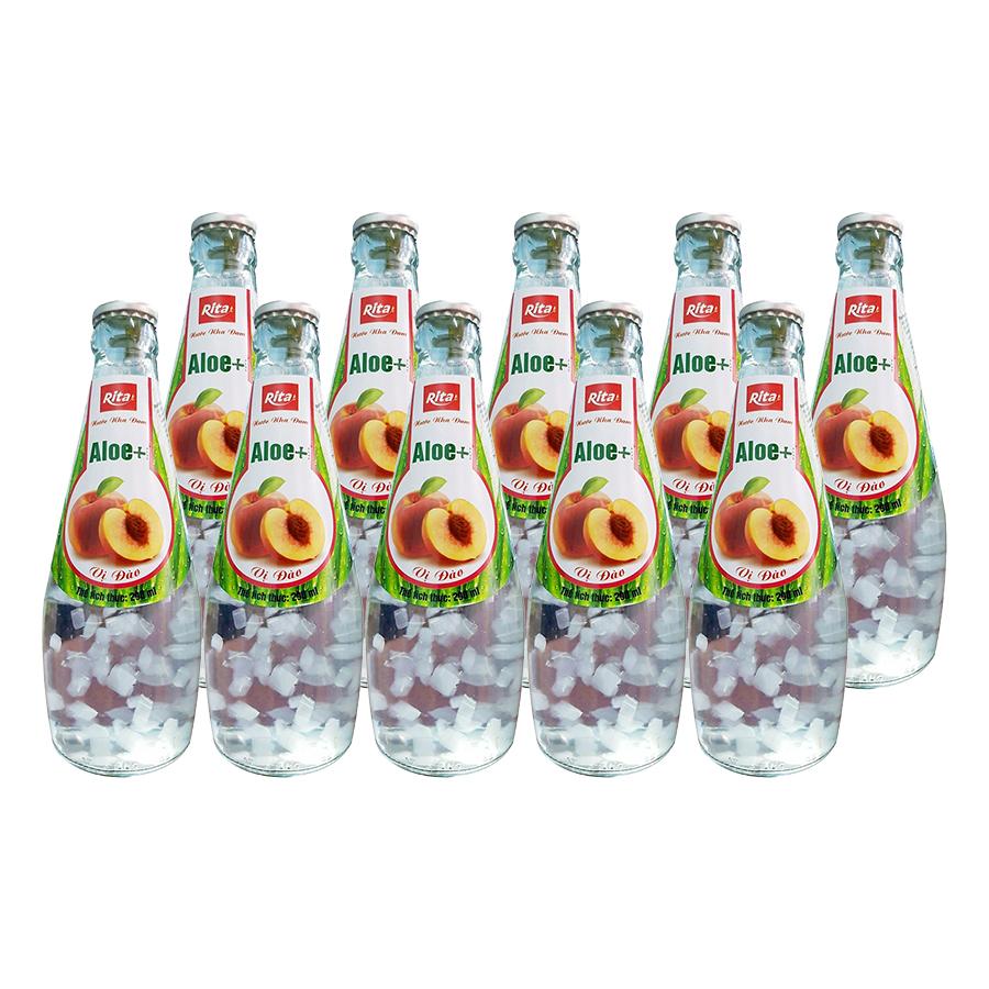 Thùng 24 chai ALOE+ Nước Nha Đam Hương Đào (290ml x24 Chai)