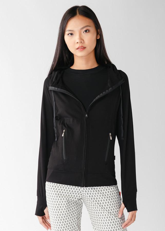 Áo khoác nữ slim 4 túi dây kéo 4044_Den
