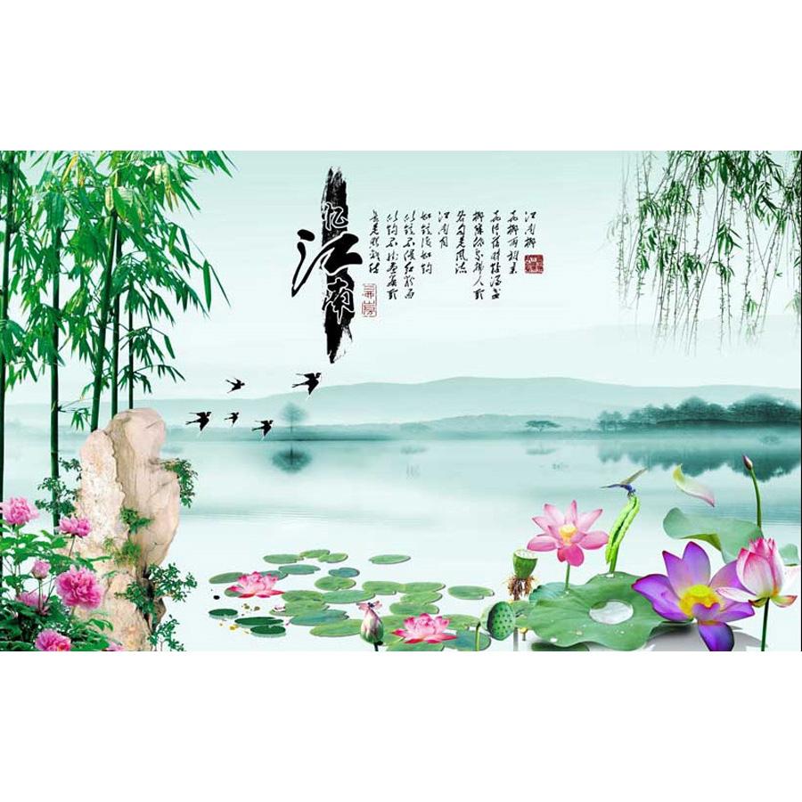 Tranh dán tường phong thủy hoa sen cá chép 3d 346