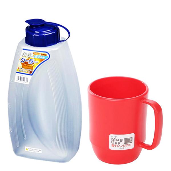 Combo Bình đựng nước 2L + Cốc nhựa uống nước màu đỏ cao cấp nội địa Nhật Bản