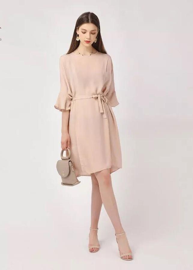 Đầm Nữ Lụa Tay Loe DRESS6511 - Cam Nhạt