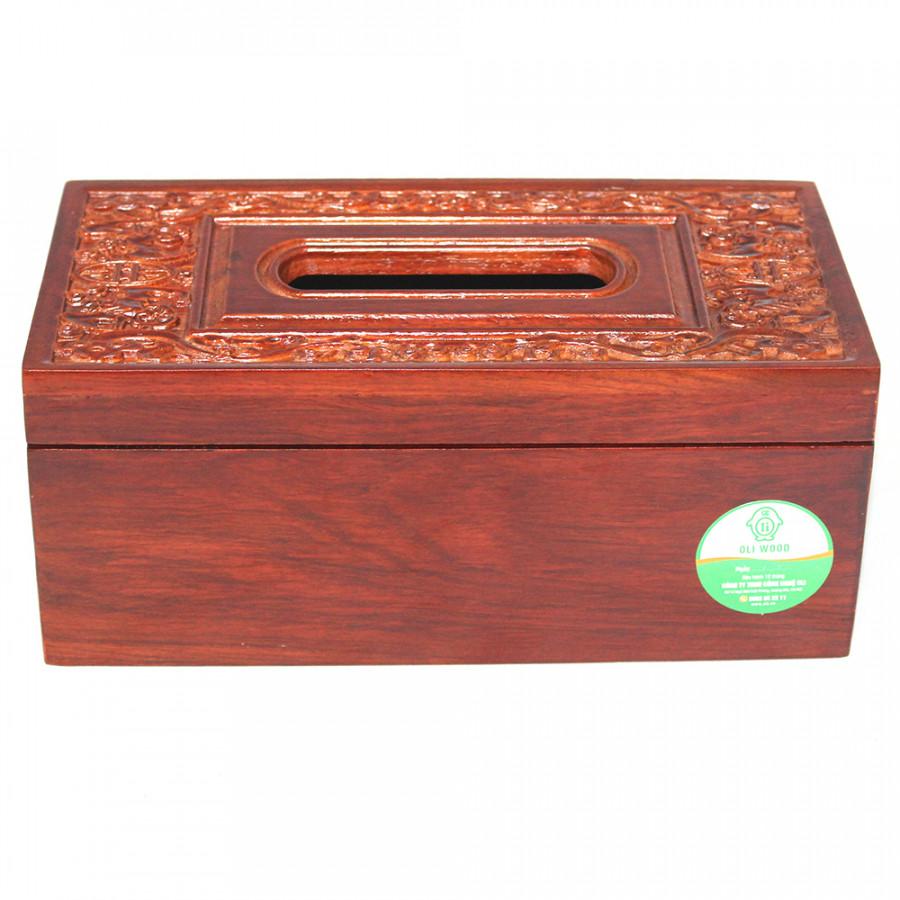 Hộp khăn giấy gỗ hương chạm khảm k628