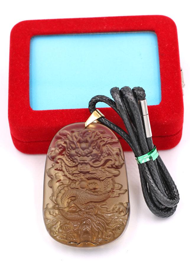 Dây chuyền mặt tượng Rồng R15 - thạch anh nâu khói ( 6.2cm x 4cm ) - kèm hộp nhung