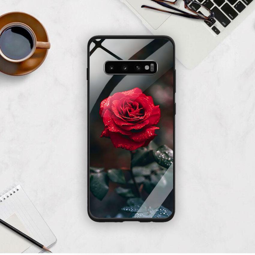 Ốp Lưng Kính Cường Lực cho điện thoại Samsung Galaxy S10 Plus - 0322 ROSE08