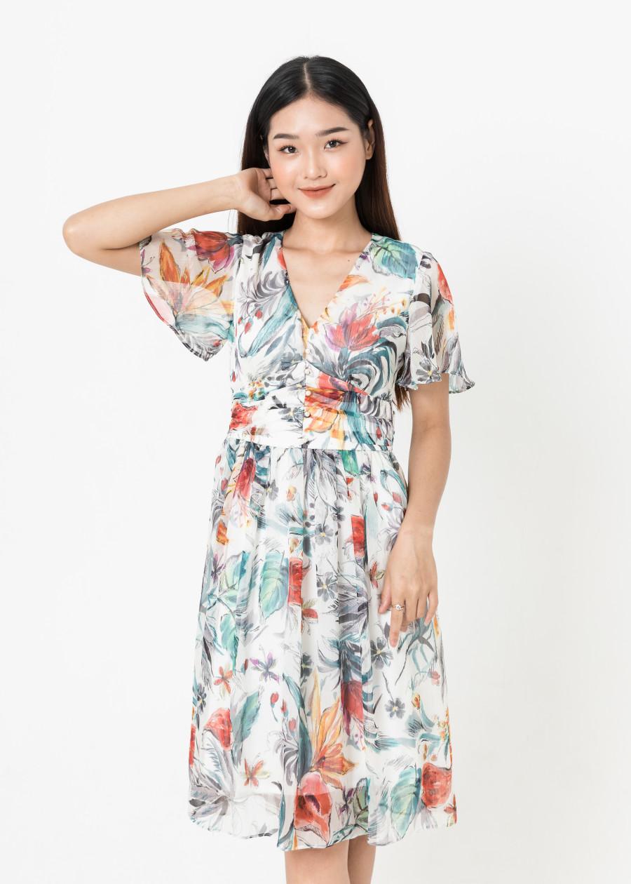 De Leah - Đầm Xoè Nhún Li Eo - Trắng