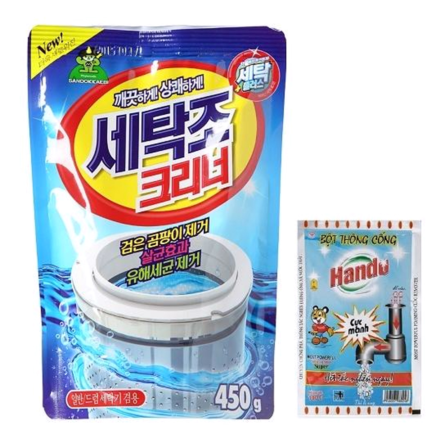 Combo gói bột tẩy vệ sinh lồng máy giặt Hàn Quốc 450g Kèm Bột thông cống Hando 100g nội địa