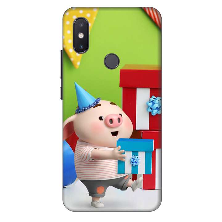 Ốp lưng nhựa cứng nhám dành cho Xiaomi Mi 8SE in hình Heo Con Mừng Sinh Nhật