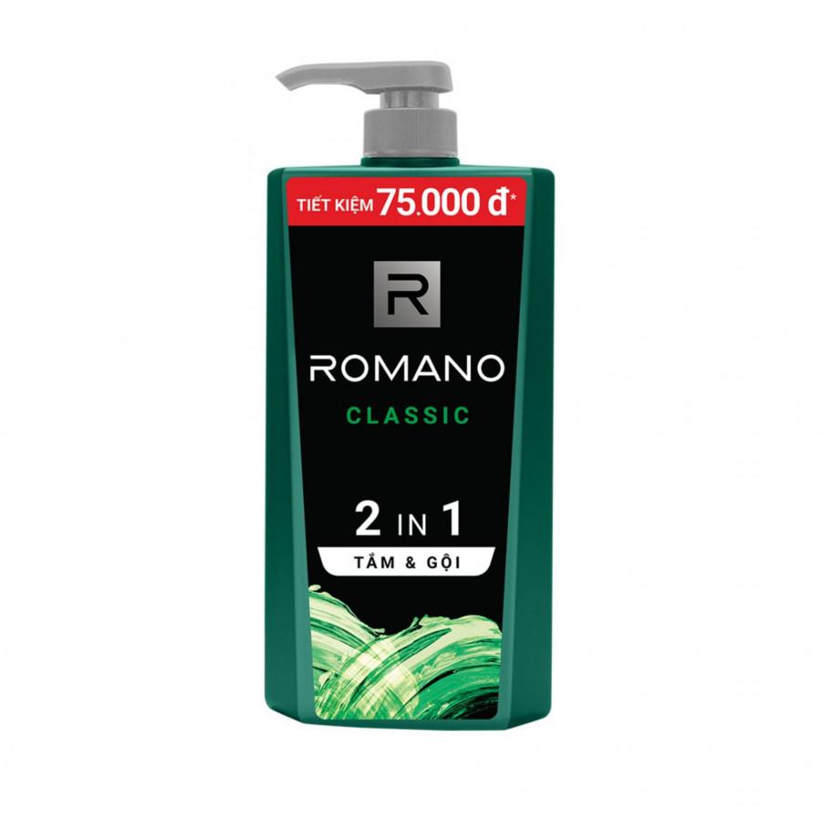 Tắm gội 2 trong 1 Romano Classic cổ điển lịch lãm phiên bản Deluxe nhanh chóng tiện dụng 900gr