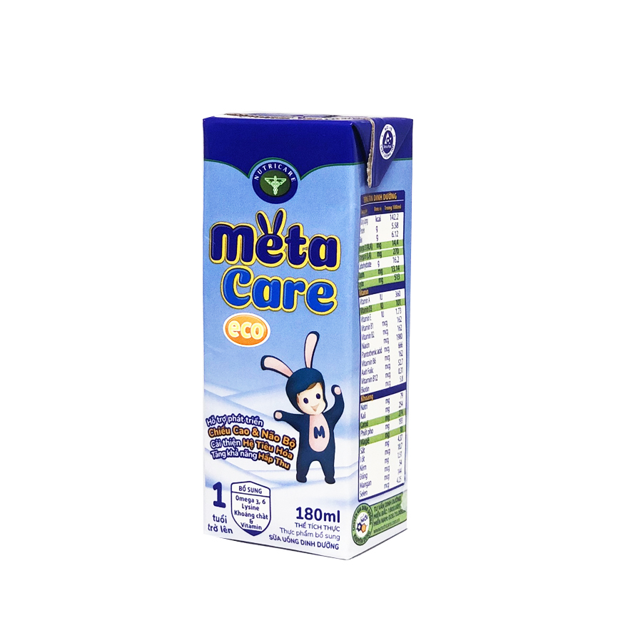 Thùng sữa nước Nutricare Metacare ECO - phát triển toàn diện cho trẻ từ 1 tuổi (180ml x 48 hộp)