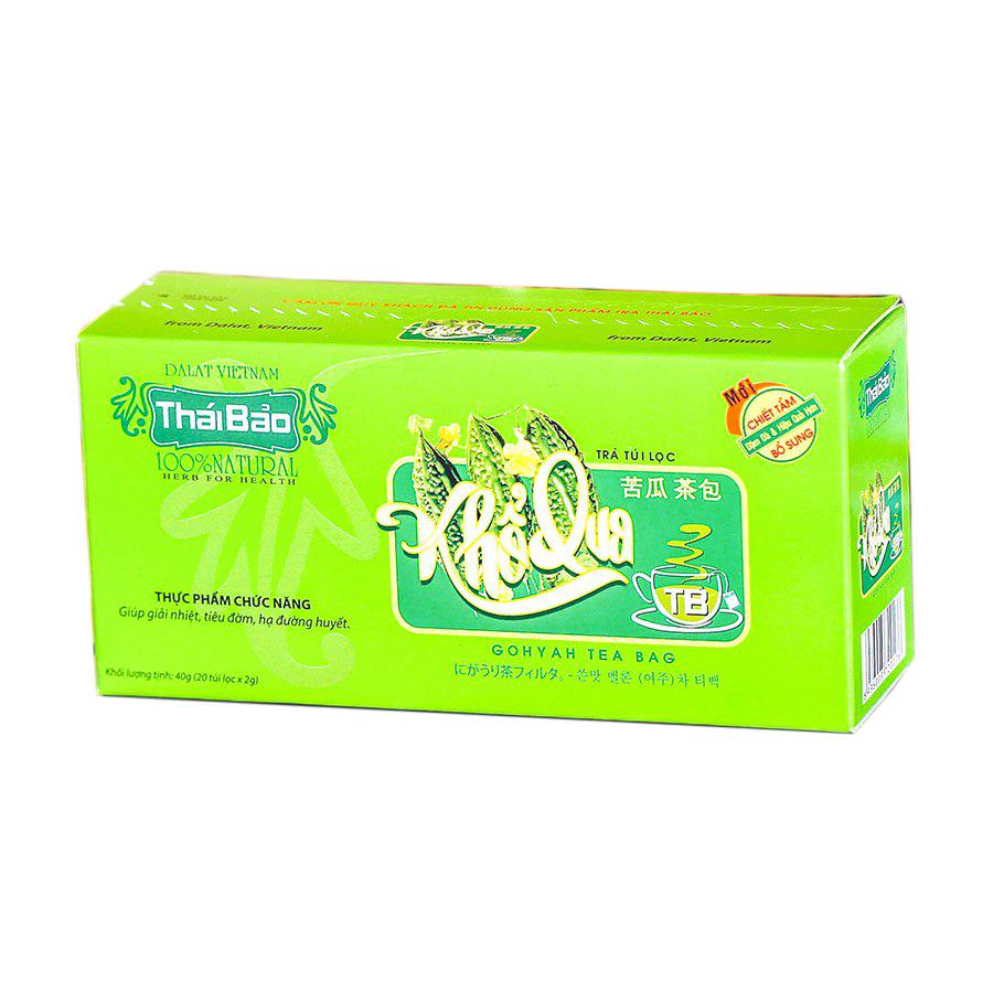 Hộp Trà Khổ Qua Túi Lọc Thái Bảo mẫu xanh (20 Tép x 2g)