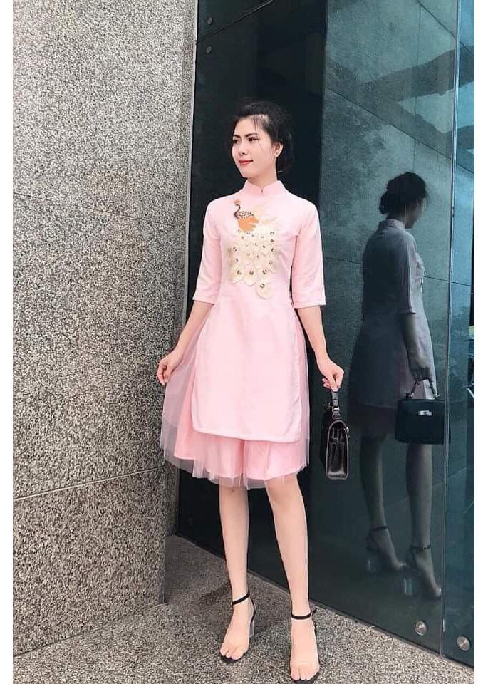 Áo dài cách tân họa tiết công kèm chân váy ren hàng cao cấp VK19