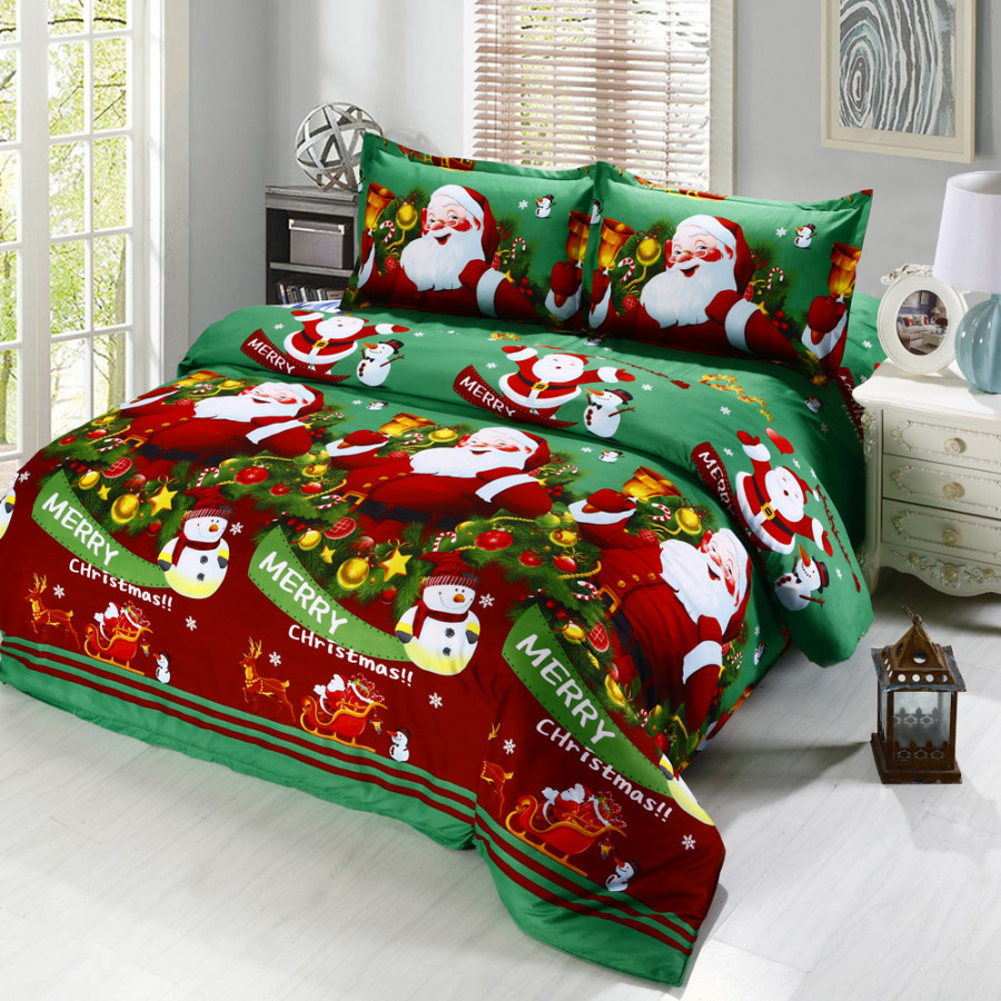 4pcs Polyester Fiber 3D Printed Cartoon Merry Christmas Gift Santa Claus Deep Pocket Bedding Set Bedclothes Cover Bed