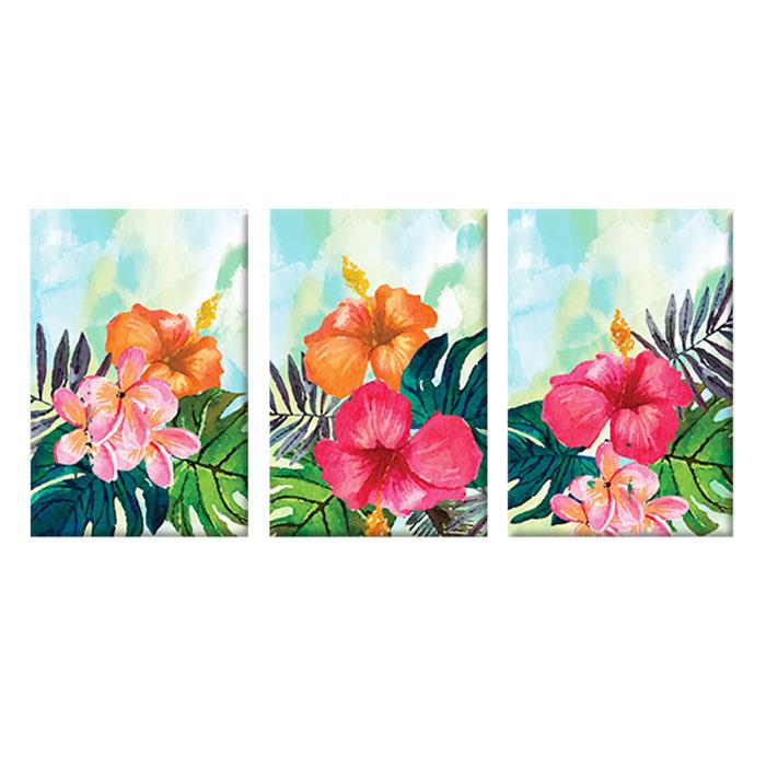 """Bộ 3 Tranh Canvas """"Hibiscus Sơn Dầu"""" - W134"""