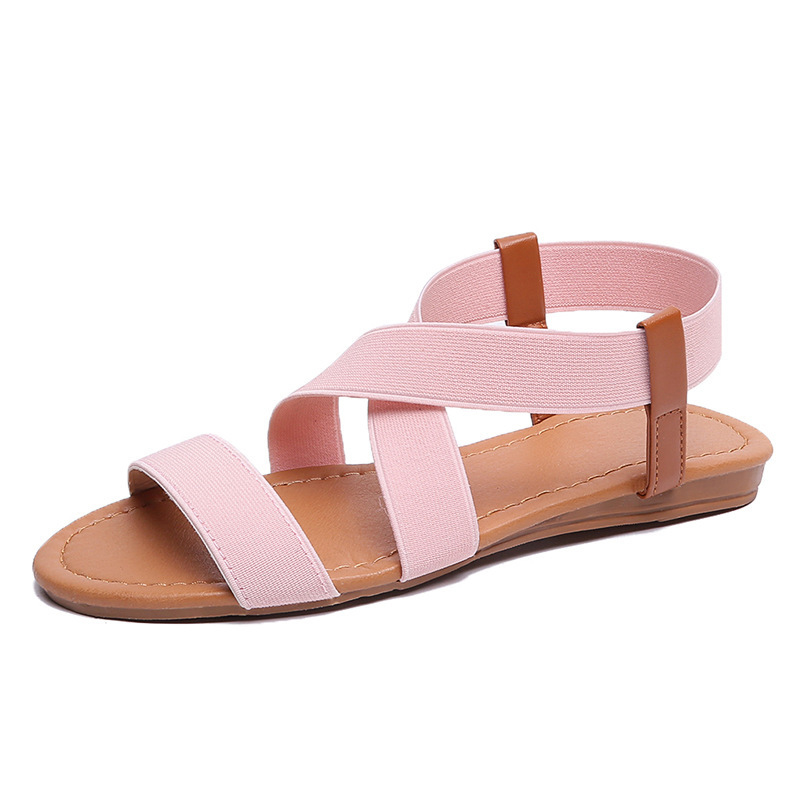 Women Flat Sandals Elastic Strap Slip On Rome Style Low Heels Ladies Beach Summer Shoes