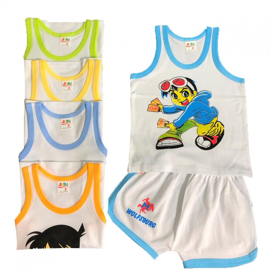 Combo 5 bộ quần áo cotton mẫu BA LỖ trắng viền màu SUSU cho bé trai - 2314345 , 7888214345741 , 62_14903558 , 200000 , Combo-5-bo-quan-ao-cotton-mau-BA-LO-trang-vien-mau-SUSU-cho-be-trai-62_14903558 , tiki.vn , Combo 5 bộ quần áo cotton mẫu BA LỖ trắng viền màu SUSU cho bé trai