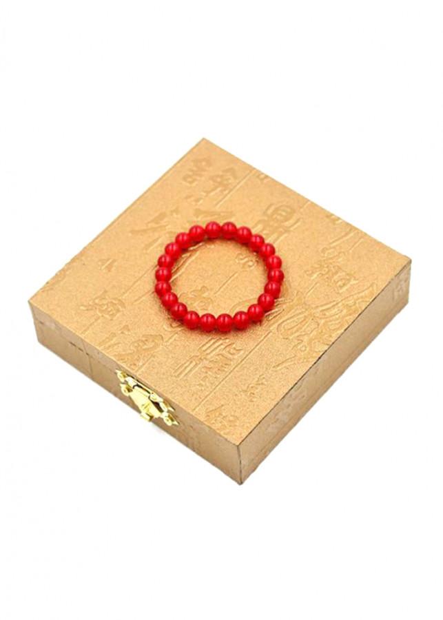 Vòng chuỗi tay - thạch anh đỏ - 8 ly 20 hạt - kèm hộp gỗ - hợp với mệnh Thổ và mệnh Hỏa