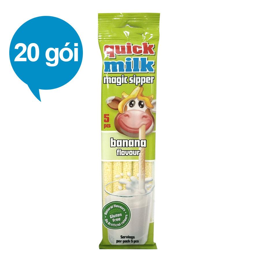 Ống Kẹo Hút Sữa Tạo Vị Chuối Felfoldi (20 Gói/Hộp)