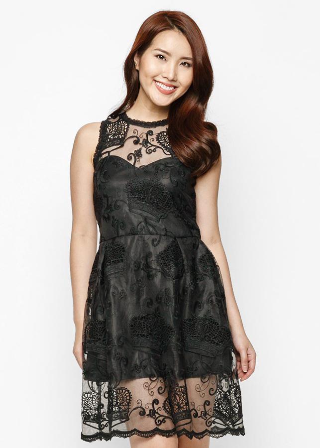 Đầm Ren Thêu Hàn Quốc Cao Cấp Black  White -HK 410