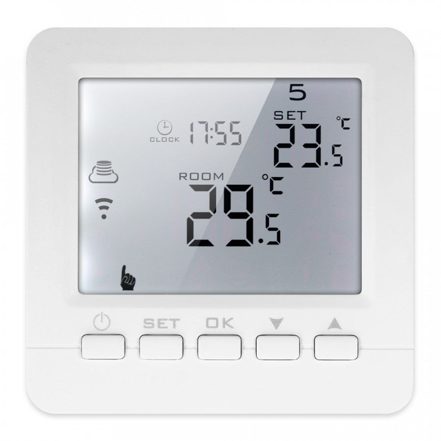 3A Programmable Water Heating Gas Boiler Thermostat LCD Display With White Backlight Temperature Regulator Voice Control