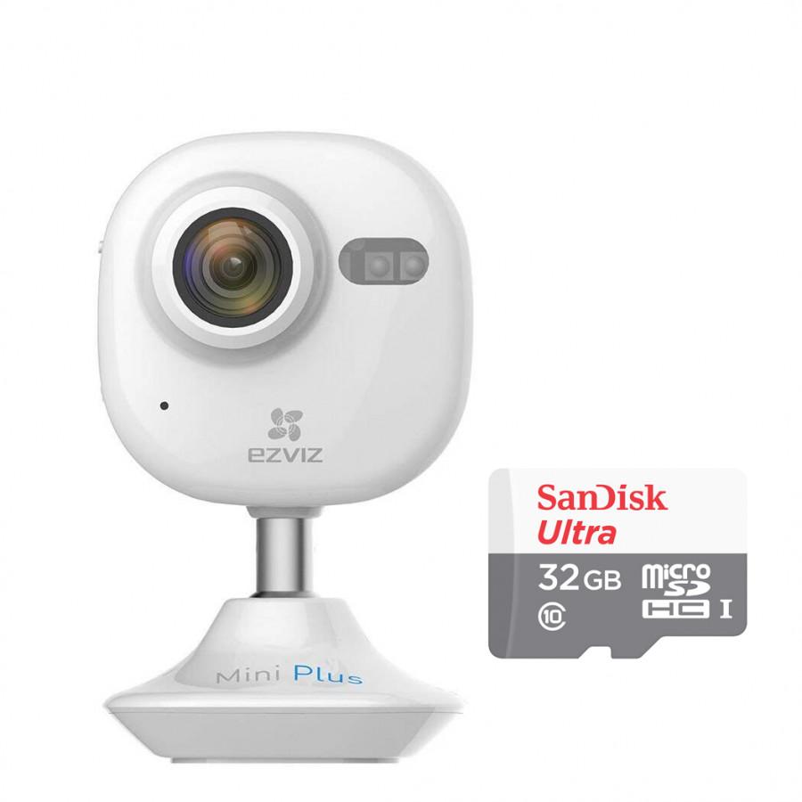 Camera IP Wifi Không Dây Ezviz Mini Plus 1080P (CS-CV200-A0-52WFR) Và Thẻ Nhớ 32GB - Tặng tai nghe Bluetooth