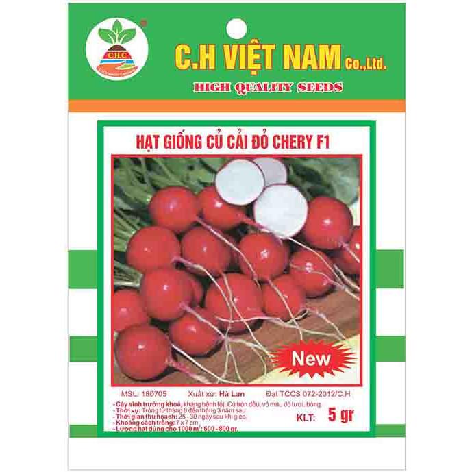 3 Gói Hạt Giống Củ Cải Đỏ Cherry F1 (5gr/ gói)