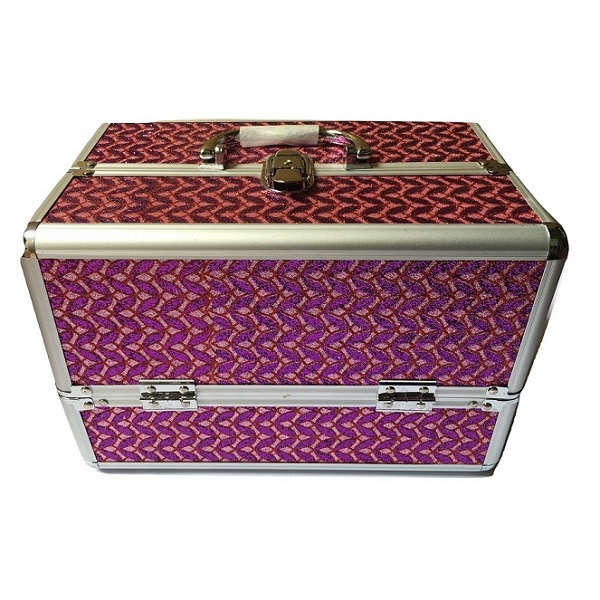 Hộp đựng mỹ phẩm dụng cụ trang điểm cá nhân lớn màu tím (30x19x20cm)