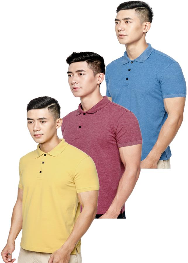 Combo 3 Áo thun nam 100% Cotton, EZ06 (Xanh bích, đỏ, vàng)