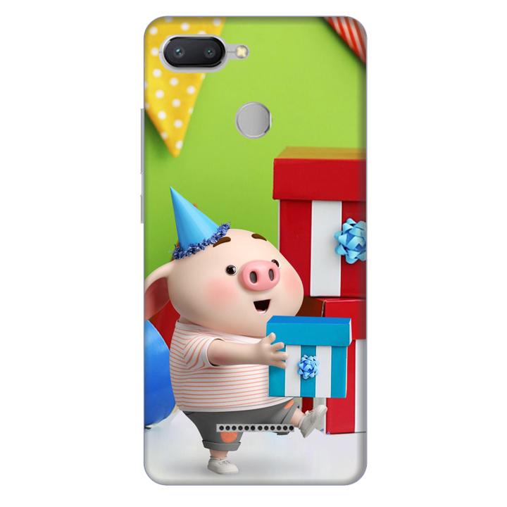 Ốp lưng nhựa cứng nhám dành cho Xiaomi Redmi 6 in hình Heo Con Mừng Sinh Nhật